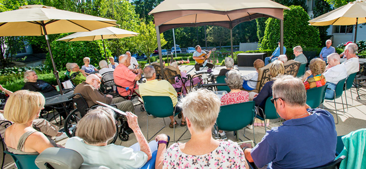 senior living residents at a concert